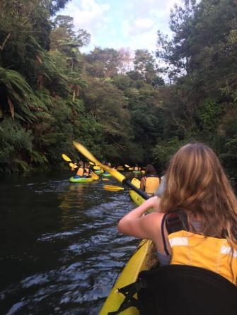 Kayaking down Lake Karapiro