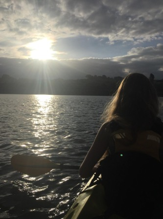 Kayaking down Lake Karapiro